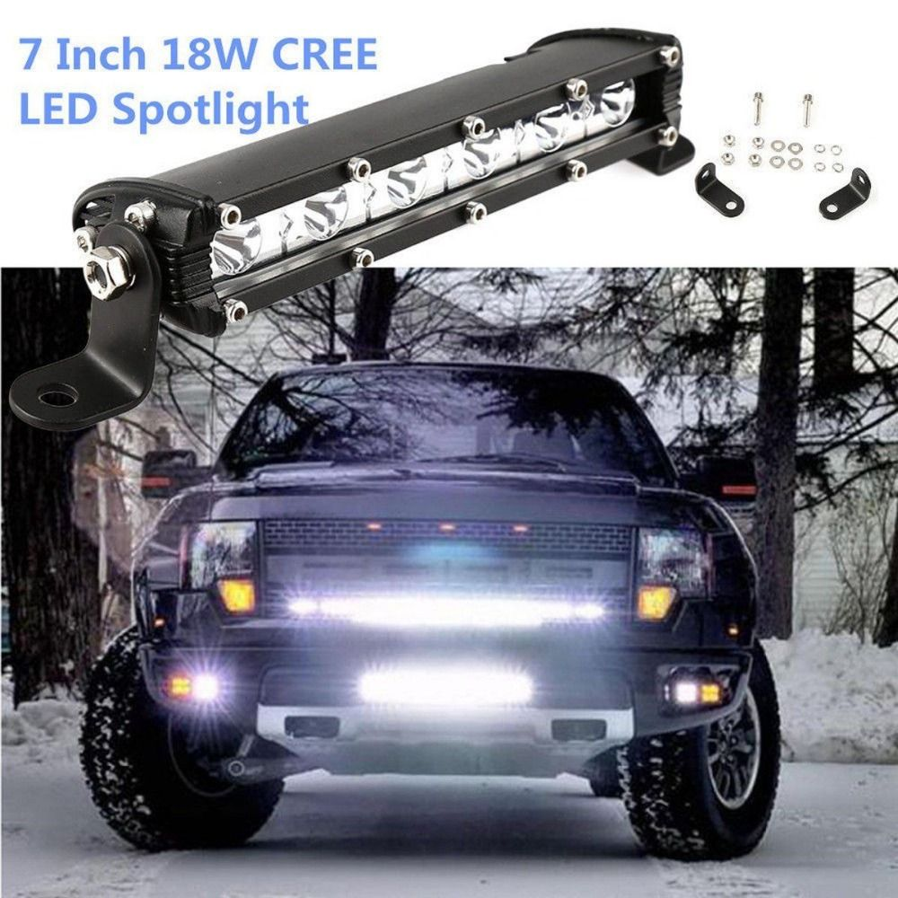 iSincer 18W Car LED Work Light Bar for Cree Chips Waterproof Offroad Car Work Bulb headlight ATV SUV 4WD Boat Truck for Jeep BMW