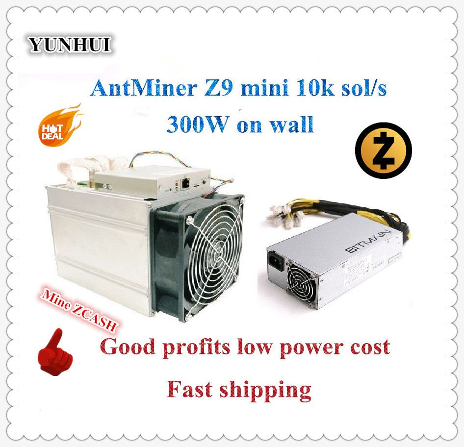 Ship In 24 Hours! ZCASH Miner Antminer Z9 Mini 10k Sol/s 300W With Bitmain APW7 1800W Power Supply,Good Profits