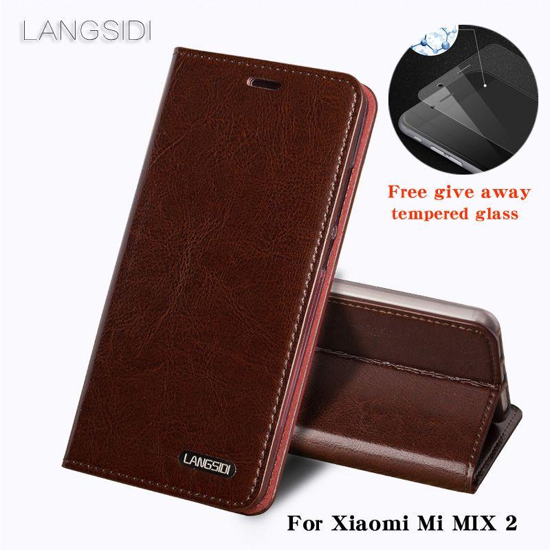 LANGSIDI Für Xiaomi Mi MIX 2 telefon fall ölwachs haut brieftasche flip Ständer Halter Kartensteckplätze ledertasche, um telefon senden glas film