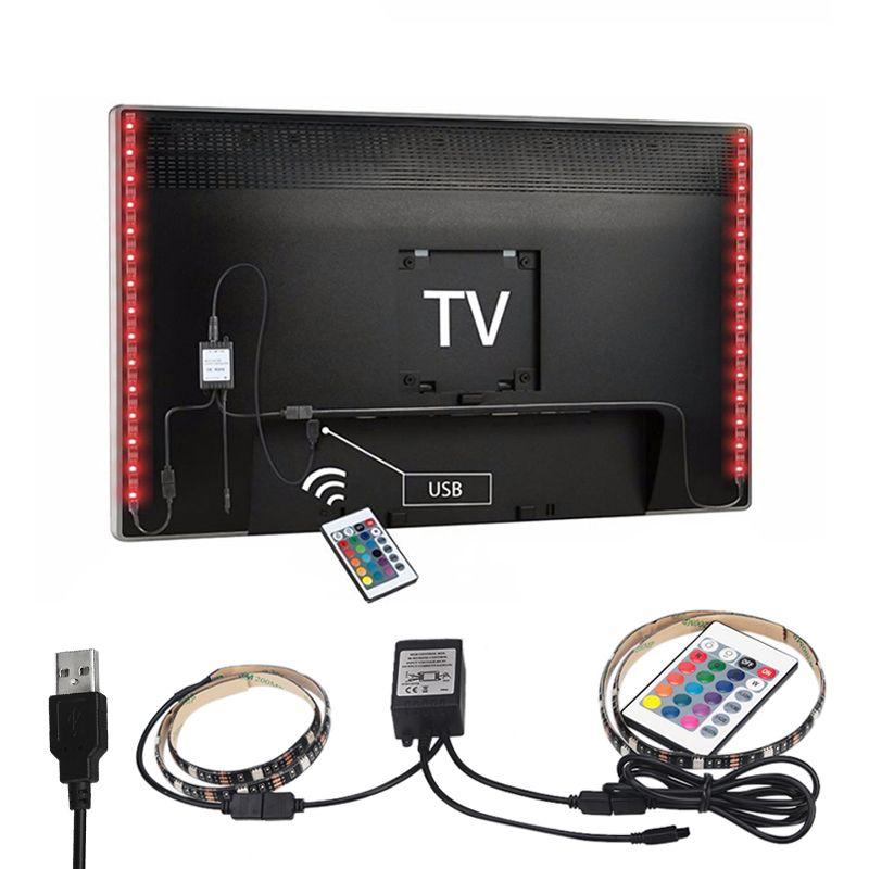 2X50 cm USB RGB LED Bande 5050 SMD Étanche Flexible LED rétro-éclairage TV Kit Plat Écran LCD Ordinateur De Bureau LED TV rétro-éclairage