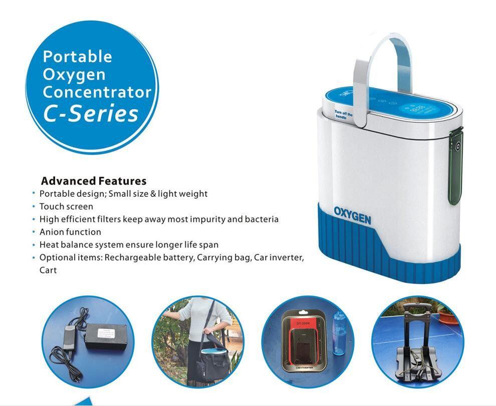 XGREEO Neueste 1-5L Tragbare Sauerstoff Konzentrator mit batterie auto inverter trolley und tragen tasche Stumm sauerstoff bar sauerstoff tank