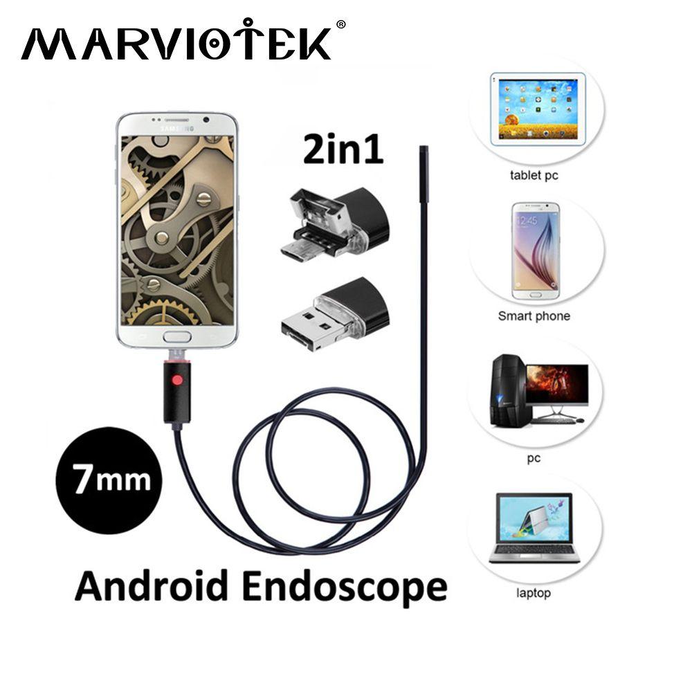 7mm 2in1 USB Endoscope caméra 2 M/5 M/10 M endoscope android caméra Téléphone OTG USB endoscope D'inspection de Serpent de voiture endoscope caméras