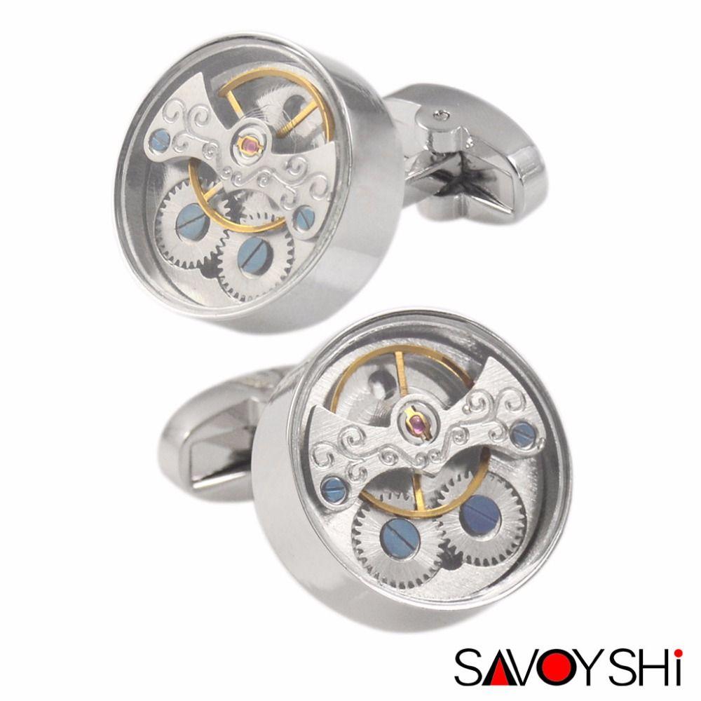 SAVOYSHI Functional Tourbillon Watch Cufflinks for Mens French Shirt Brand Cuff bottons Round Cuff link High Quality Men Jewelry