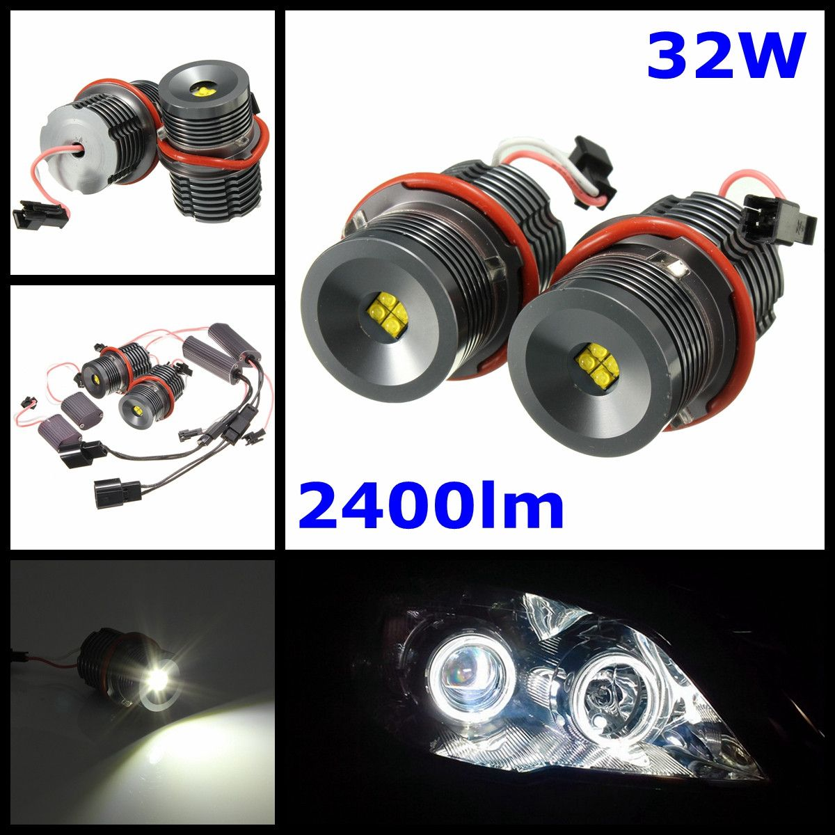 Pair Car LED Lamp White Angel Eyes Halo Ring LED Light Bulbs for BMW E87 E39 E60 M5 E63 E65 E83 X5 E53 X3 2000-2008 Error Free