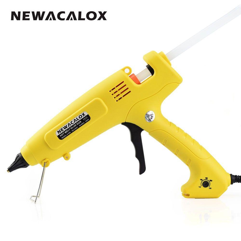 NEWACALOX 300W Hot Melt Glue Gun EU Plug Smart <font><b>Temperature</b></font> Control Copper Nozzle Heater Heating 110V 220V Wax 11mm Glue Stick