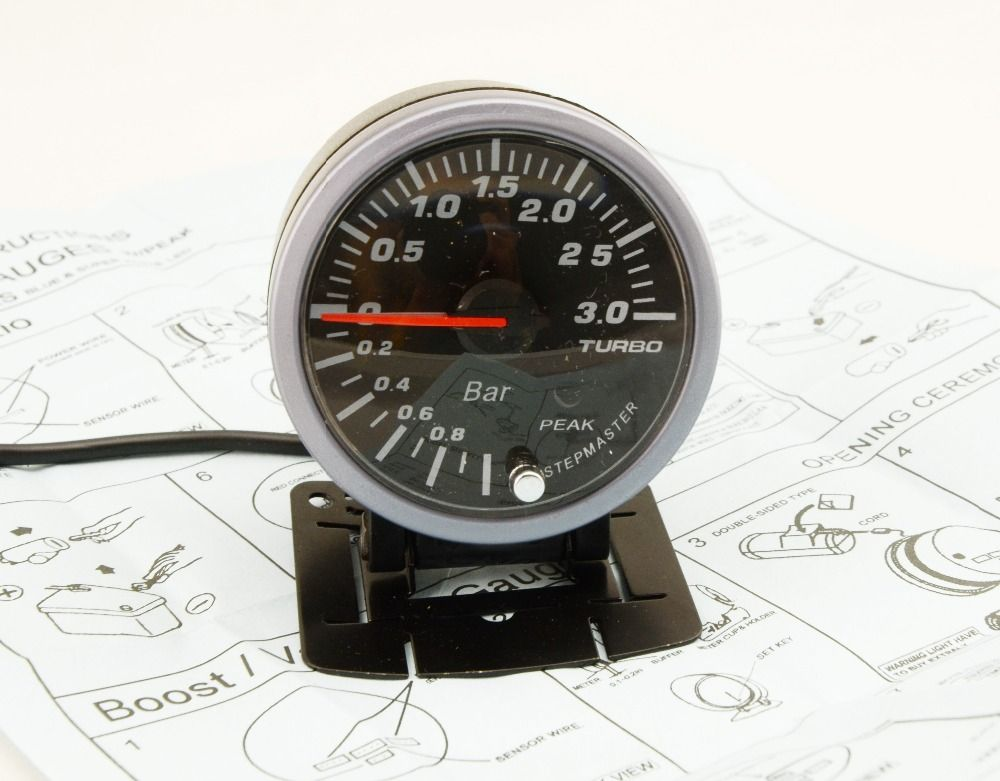 DRAGON GAUGE 60mm 3.0 BAR Turbo Boost Gauge Electrical With Warning