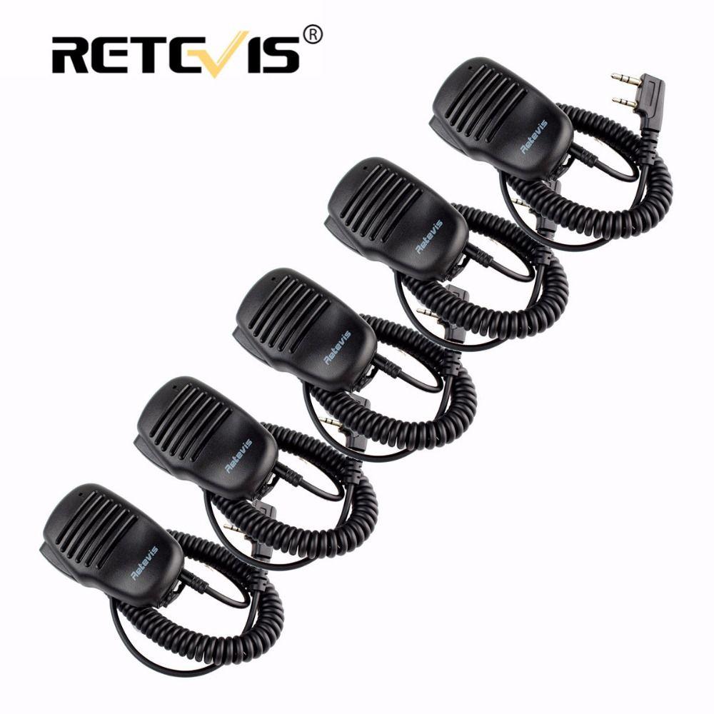 5 pcs à distance haut-parleur microphone 2pin ptt mic talkie-accessoires pour baofeng uv5r bf-888s walkie retevis rt5r h777 rt7 pour kenwood