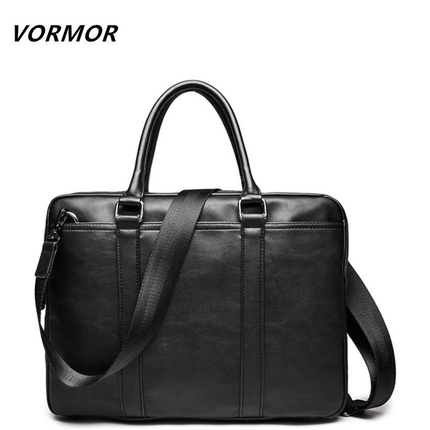 VORMOR Promotion Simple Famous Brand Business Men Briefcase Bag Luxury Leather Laptop Bag Man Shoulder Bag bolsa maleta