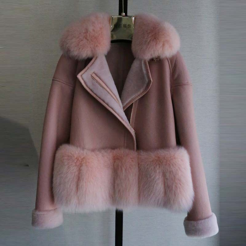 BFFUR 2017 Neue Natürliche Echte Pelzjacke Weibliche Mode Kurze Pelzmantel Winter Frauen Merino Lammfell & Echten Fuchspelz mantel