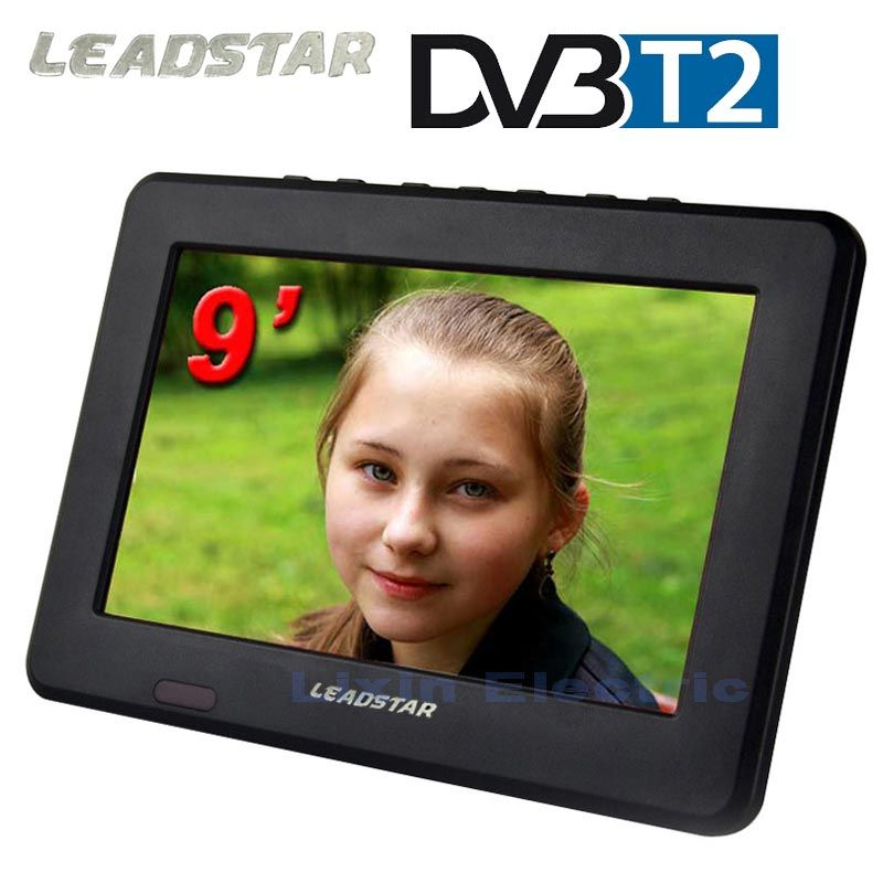 2017 DVB-T2/DVB-T Téléviseurs 9 pouces TFT LCD Couleur DVB-T2 Portable TV Avec Large Angle de Vue, soutien TF Carte/USB Flash Disque