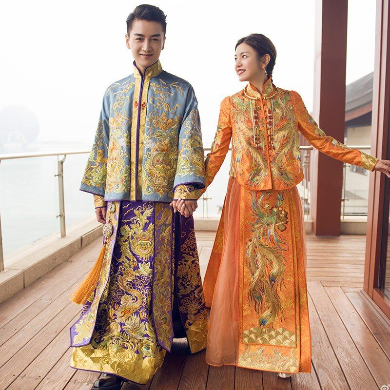 Bridal groom Gown Chinese Style Show wear China weddin dress of the bride Elegant toast suits Overseas Chinese Traditional Dress