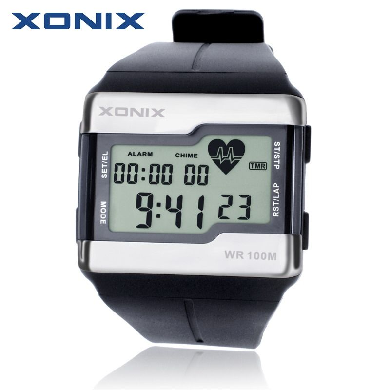 Hot!!! XONIX Fashion Heart Rate Monitor Men Sports Watches Waterproof 100m Digital Watch Swimming Diving Wristwatch Montre Homme