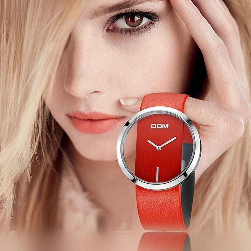 DOM montre femme de luxe De Mode décontracté 30 m étanche montres à quartz véritable bracelet en cuir sport Dames élégant montre-bracelet fille