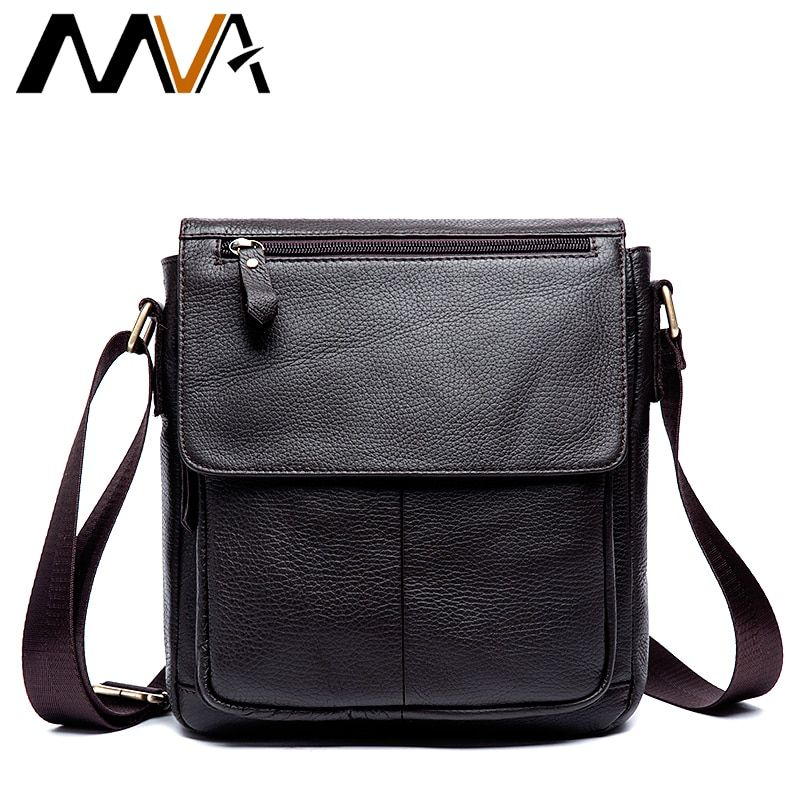 MVA Men's Leather bag Genuine Leather men Bag male Shoulder Crossbody Bags Casual Handbags Small Flap Men Messenger Bags 819