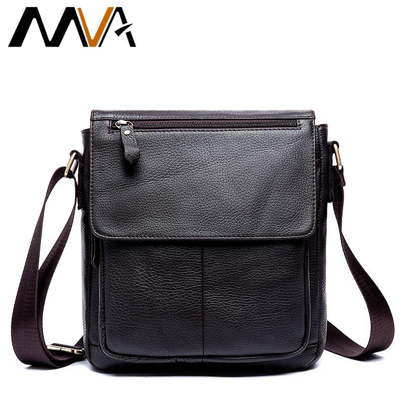 MVA Messenger Bag Men's Genuine Leather Men Bag Messenger Shoulder Bags Small man Crossbody Bags for men leather handbags 819