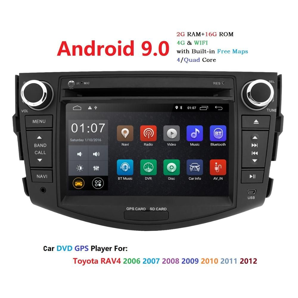 Hizpo NEUE! !! Android 9.0 auto dvd player für Toyota RAV4 Rav 4 2007 2008 2009 2010 2011 2 din 1024*600 auto dvd gps wifi rds TPMS