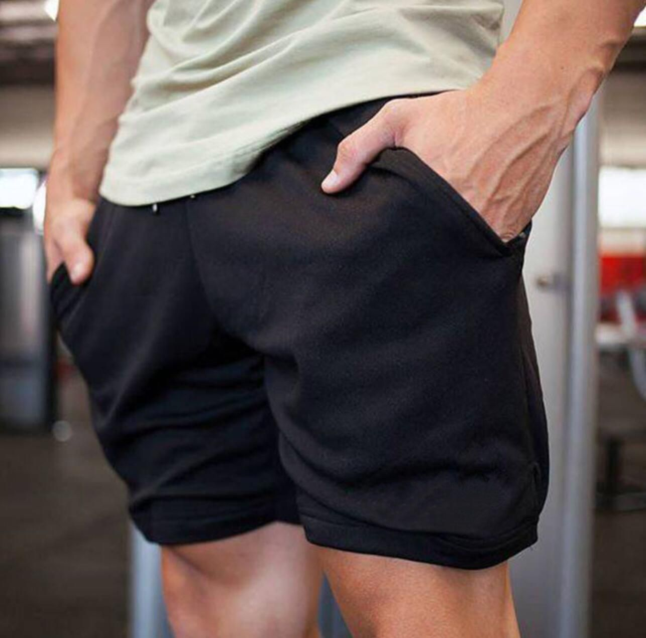 2018 new men Shorts Compression <font><b>Pantalon</b></font> Corto Patchwork Eercise Short Gym Sport Shorts AGZ01-AGZ08