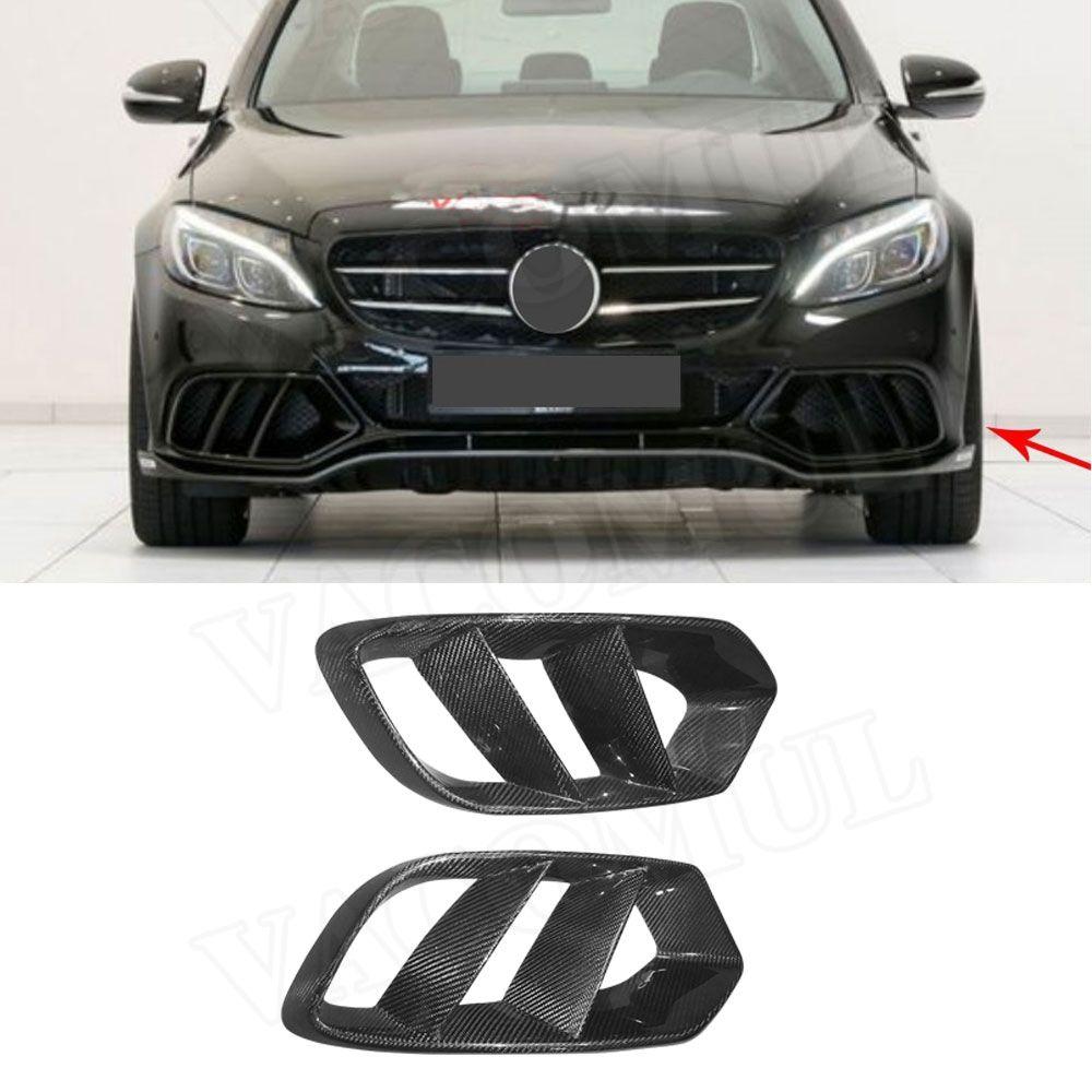 Carbon Fiber Front Bumper Air Vent Outlet Cover Trim Mesh Grill Frame For Mercedes W205 C Class C180 C200 2015-2017