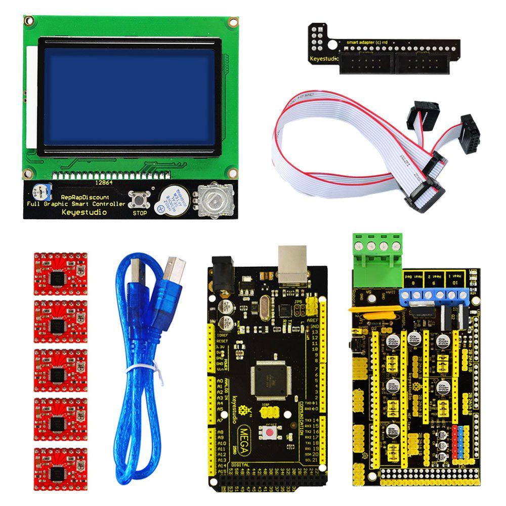 Shippng! Keyestudio 3 D Imprimante Kit RAMPES 1.4 + Mega 2560 xa4988 moteur pilote + LCD 12864 contrôleur