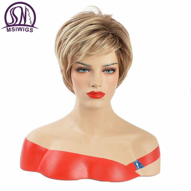 Perruques bouclées naturelles MSWIIGS pour femmes perruque courte synthétique Blonde blanche avec frange cheveux noirs marron résistant à la chaleur Afro Ombre
