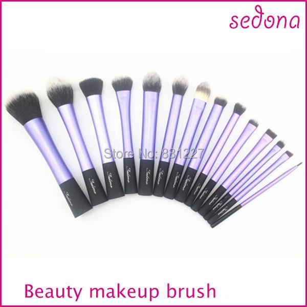 De luxe 14 pièces/ensemble super doux cheveux bleu maquillage brosse kit pour le maquillage, œil Visage et pinceau à lèvres Cosmétiques kit fait Noir Poignée