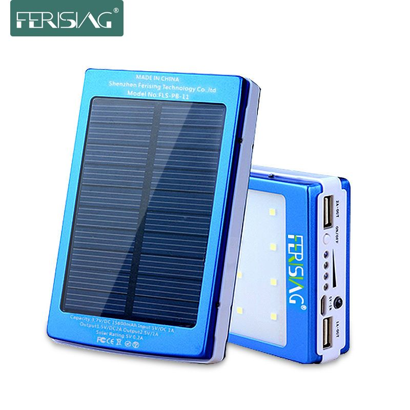 FERISING Power Bank Solar Panel 15600mAh/13000mAh Powerbank Dual USB Battery Portable LED Light Charger External Battery Pack
