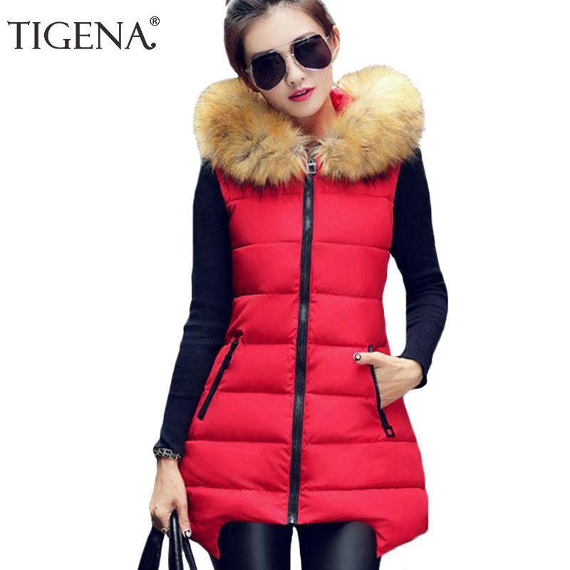 TIGENA Plus Size 4XL Winter Vest Women 2017 Sleeveless Jacket Coat Women's Vest Waistcoat Warm Hooded Long Vest Female