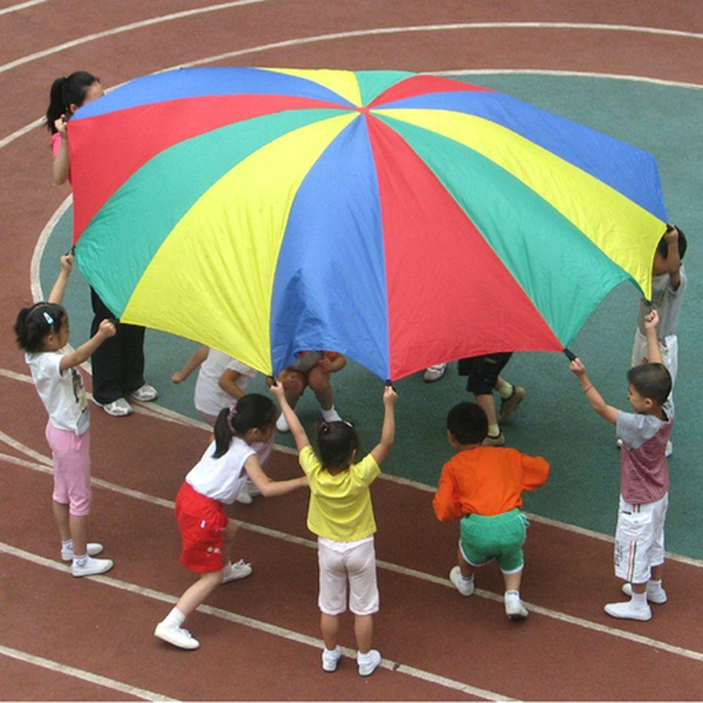 Dia 2m Children Sports Outdoor Rainbow Umbrella Parachute Toy Parents Kids Sports Development Jump-sack Ballute Play Parachute