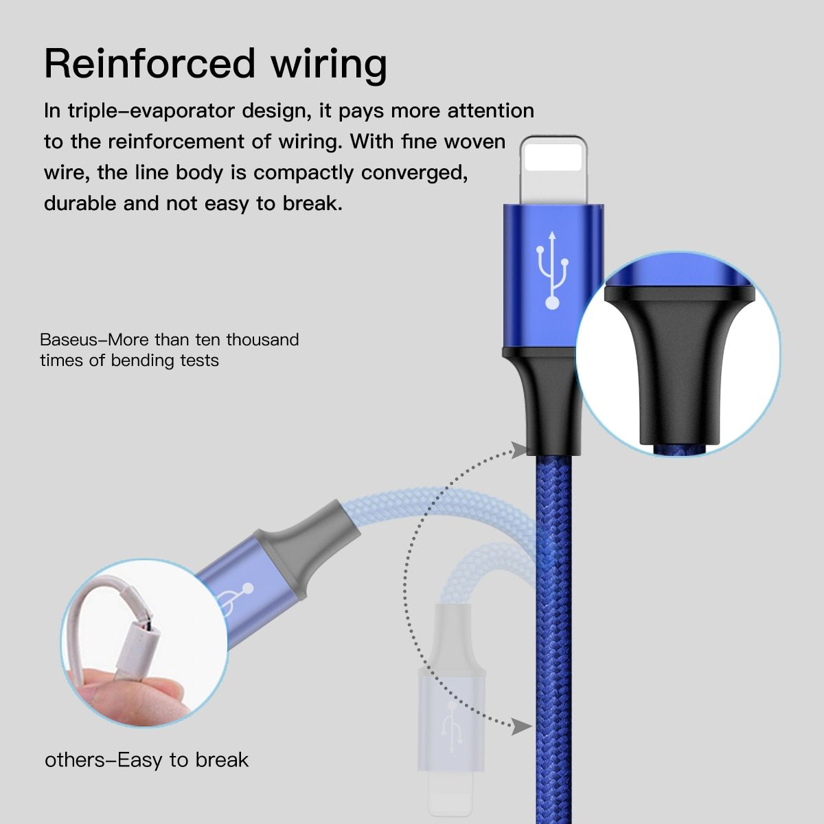 Baseus USB Cable For iPhone 7 6 6s 5 5s se Charging Charger Type C Micro USB Cable For Android 3 in 1 2 in 1 Mobile Phone Cable