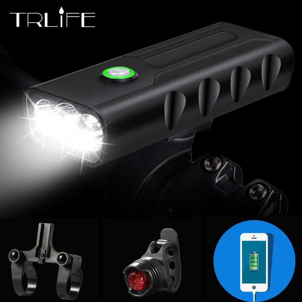 15000Lum 2/3 * L2/T6 USB Rechargeable intégré 5200mAh 3Modes vélo lumière étanche phare vélo accessoires avec feu arrière