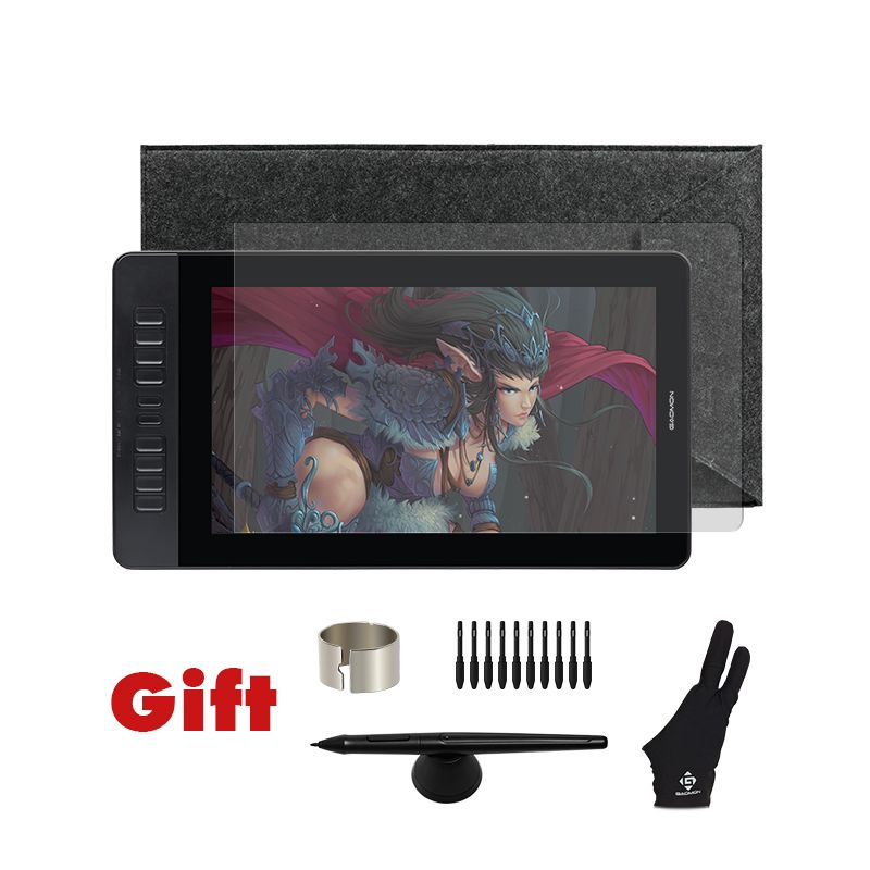 GAOMON PD1560 15.6 inch 10 Keys Art Professional Graphics Tablet Display USB Pen Drawing Tablet Monitor for Win&Mac with Gifts