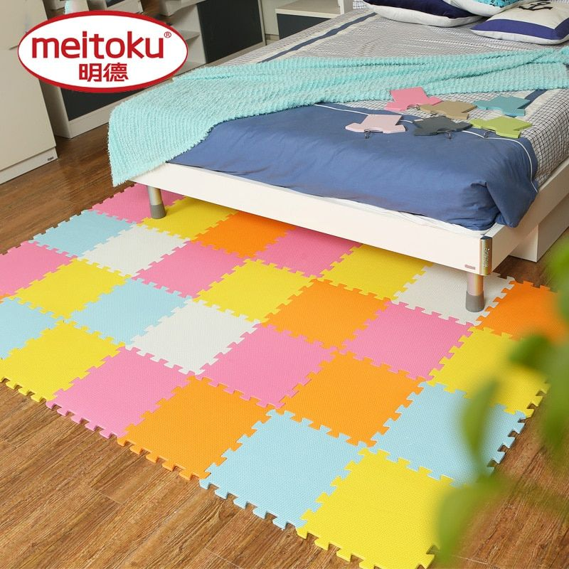 Meitoku baby Play Mat,EVA Foam Childrens Rug,Interlocking Exercise Crawl Tiles,Floor Puzzle Carpet for Kids,Each 32x32cm