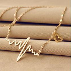 Новинка 2018, простое популярное ожерелье с дизайном «ЭКГ» для женщин, модные ювелирные изделия, цепочка-ключица, ожерелье
