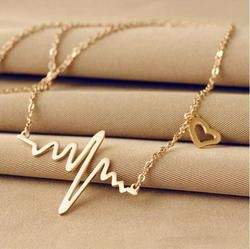 2018 New Simple Popular Electrocardiogram Necklace For Women Fashion Jewelry Clavicle Chain Collares