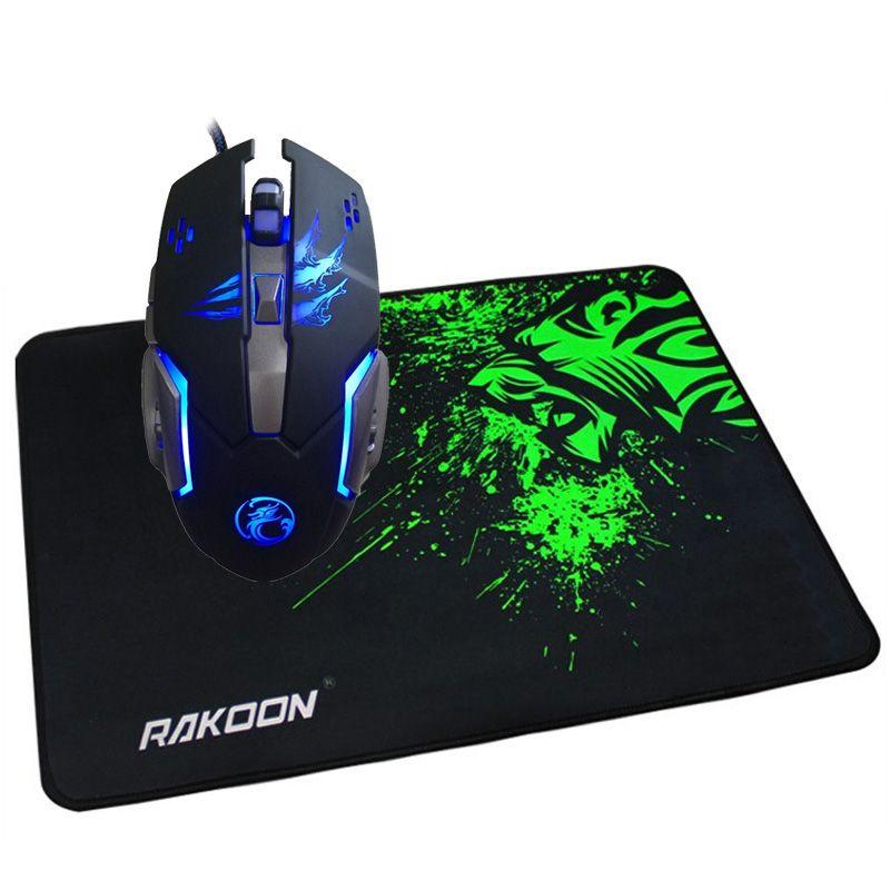 7 кнопок 3200 Точек на дюйм программирования макросов Gaming Mouse LED оптическая USB Проводная мышь + игровой коврик для мыши геймер коврик подарок дл...