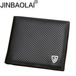 Nueva PU Cartera de cuero hombres carteras de lujo marca embrague monedero Brown money clip Cartera de cuero monedero cuzdan JINBAOLAI