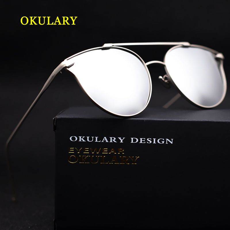 Silver/Blue Mirror Women Sunglasses Metal Frame Lady Glasses With Box 2017
