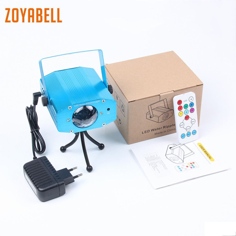zoyabell Led Disco Stage Party Light Water Ripples Magic 7 Colors Stage Remote Sound Control Laser Club Lamp Projector Lighting