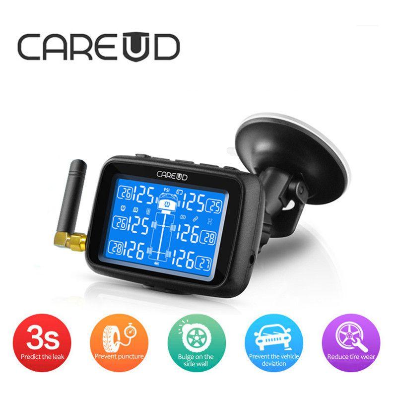 CAREUD U901 TPMS Auto Lkw Auto Reifendruck Monitor System Austauschbare Batterie mit 6 Externe Sensoren LCD Display