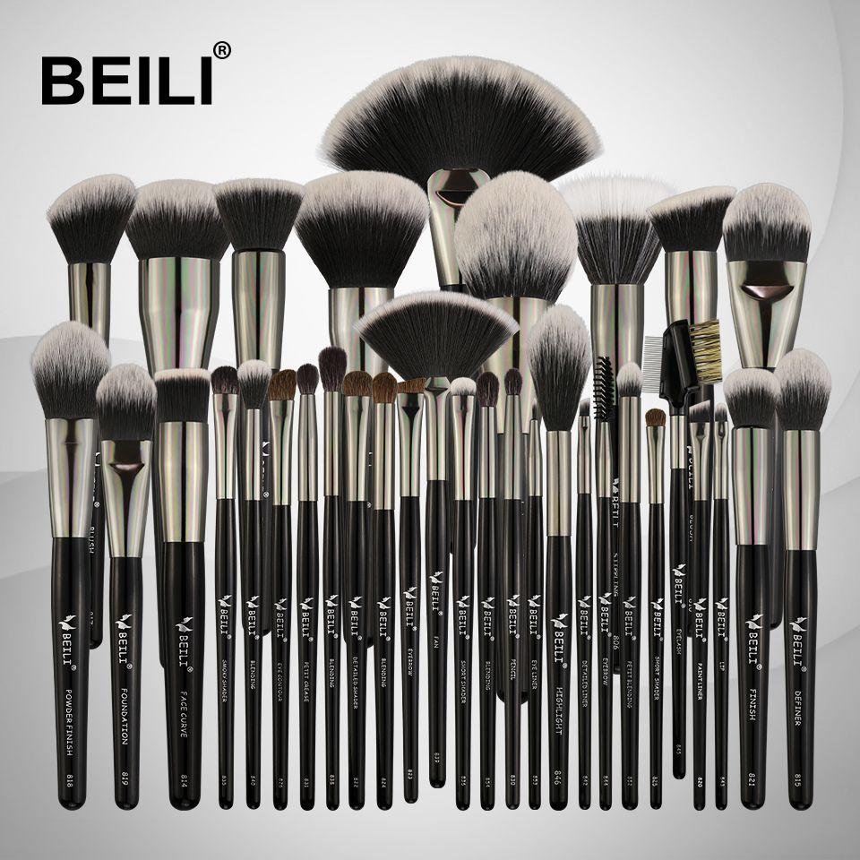 BEILI Schwarz 35 stücke Make-Up Pinsel Set Professional Weiche Natürliche borsten Blending Augenbrauen Concealer Creme Foundation Pulver