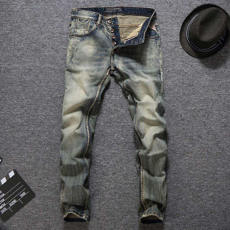 Dropshipping Quality Guaranteed Fashion Mens Jeans Slim Fit Denim Buttons Pants Brand Men Jeans Vintage Retro Classic Jeans Men
