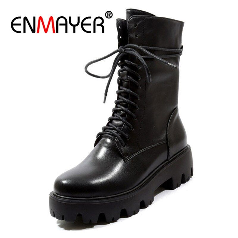 ENMAYER Woman Ankle Boots Lace Up Martens Boots Size 34-39 Autumn Winter Cow Leather Shoes women Basic boots Narrow band CR1166