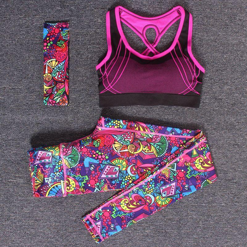 Women Yoga Fitness Sports Sets Gym Workout Sportswear 3pcs/Set Tracksuits Headband+Bra+Printed Yoga Pants Sport Leggings Suits