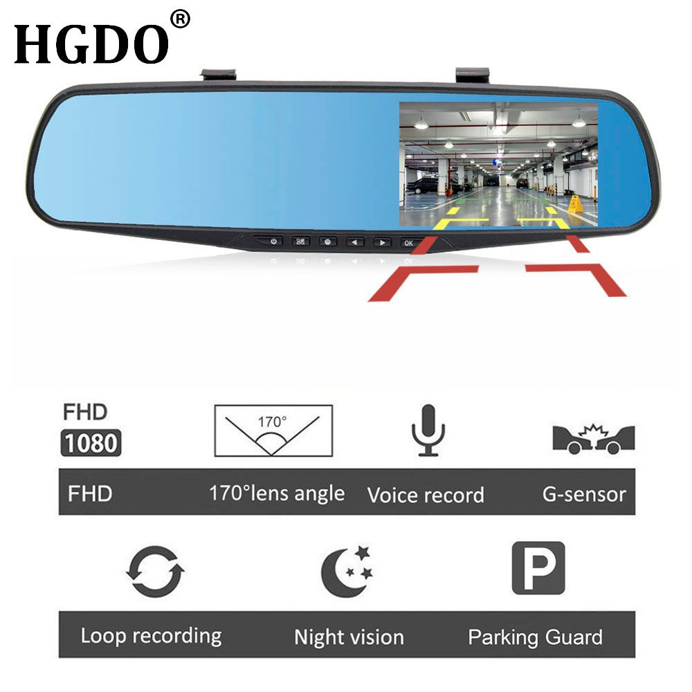 HGDO 4.3'' FHD 1080P Dual Lens Car Auto DVR Mirror Dash Cam Recorder Rearview Mirror Night Vision DVRs Rear View Camera