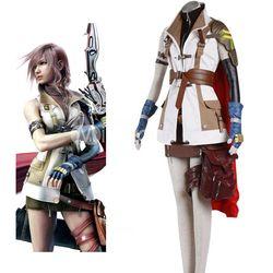 Kualitas tinggi Final Fantasy XIII Petir Cosplay Kostum Seragam Jas Wanita Gadis Halloween Kostum Custom-Made Seluruh Set Gratis Pengiriman