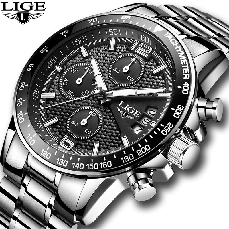 2018 New LIGE Mens Watches Top Brand Luxury Stopwatch Sport waterproof Quartz Watch Man Fashion Business Clock relogio <font><b>masculino</b></font>