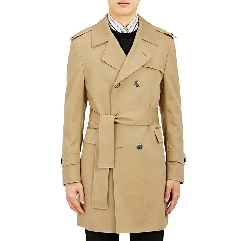 Medium Length Male Trenchcoat 2018 Spring/Fall Double Breasted Classic Camel Trench Mens Slim Coat Plus Size Overcoat