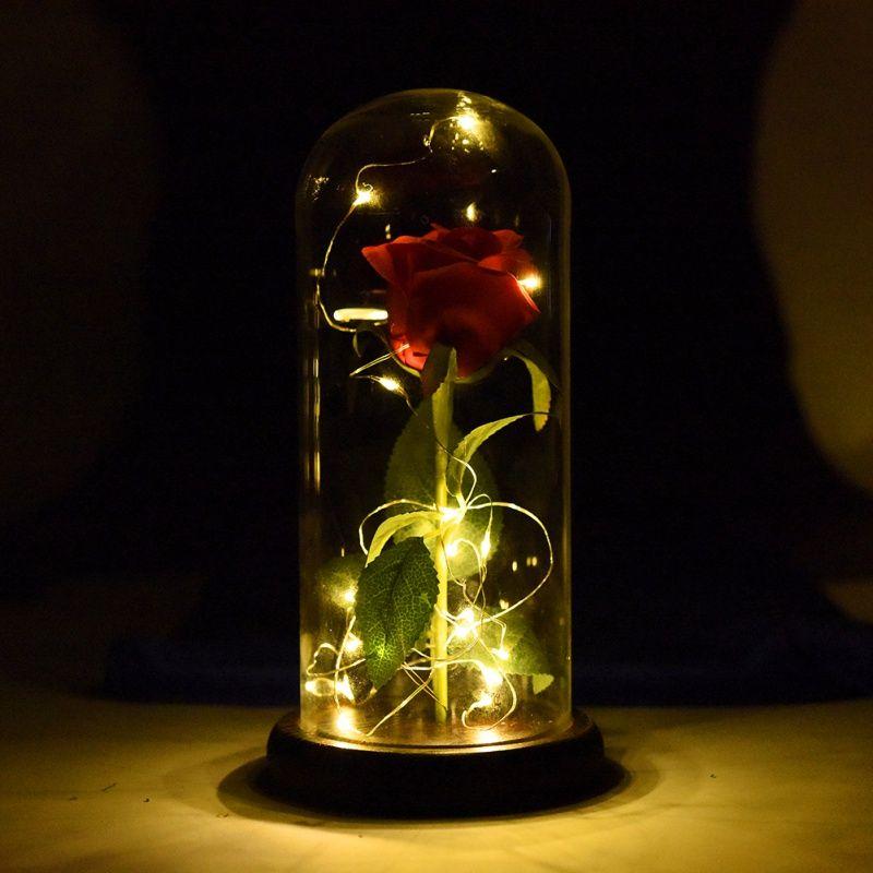 LED Beauté Rose Bête Rose Enchantée Rouge Soie Rose qui Dure Pour Toujours avec LED Fée Cordes Lumières Meilleur Cadeau pour mère de Jour