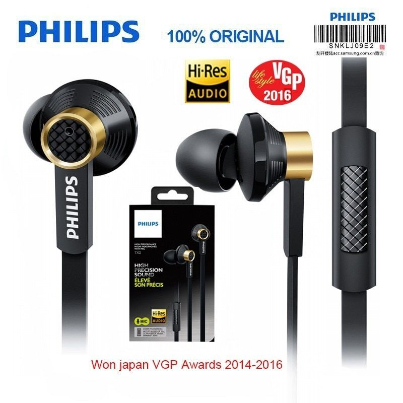 New Philips Tx2 HiRes HIFI earphone high resolution fever earbuds ear noise canceling sport headset for huawei xiaomi