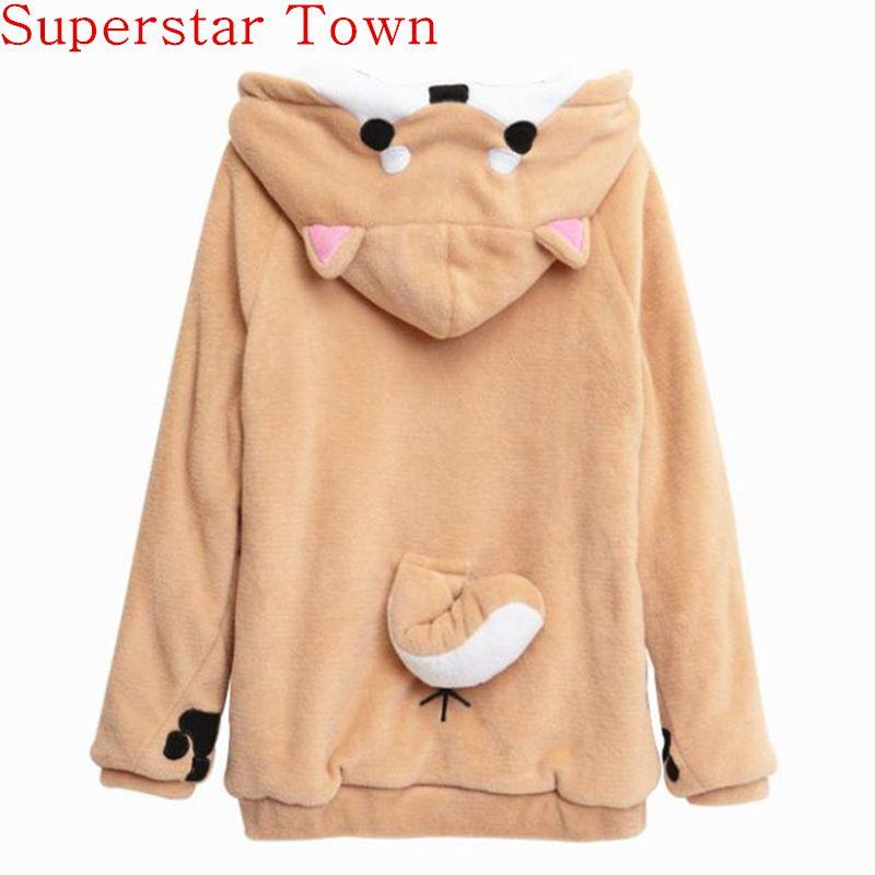 Harajuku Japanese Kawaii Hoodies Women Sweatshirts With Ears Cute Doge Muco Winter Plush Lovely Muco ! Anime Hooded Hoodies